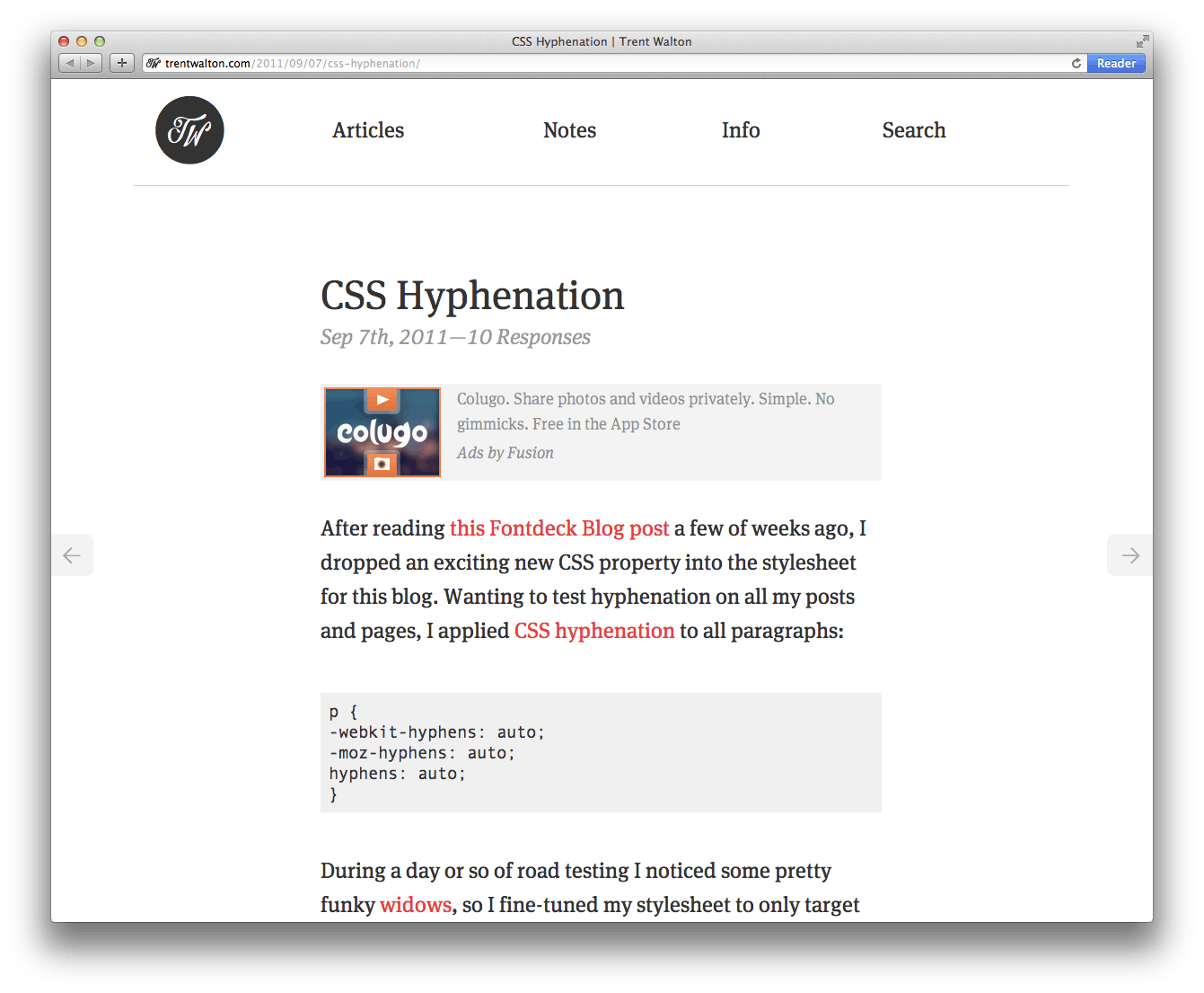 CSS Hyphenation | Trent Walton